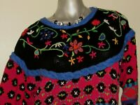 Women's Vintage CASUAL CORNER Red and Black Floral Sweater Size LARGE 12 14