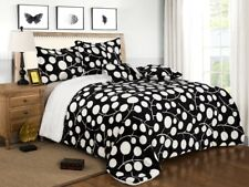 6 Piece Black White Reversible Warm Flannel Sherpa Borrego Blanket King Size Gh