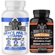 Men's Pump and Virility Multi Vitamins- 3 MONTH SUPPLY + Bonus Monster N.O