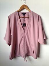 Dusty Pink Top UK 10 Eur38 Zip Jacket Short Sleeve Minimal Look