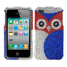 For Apple iPhone 4 4S Crystal Diamond BLING Hard Case Snap Phone Cover Red Owl