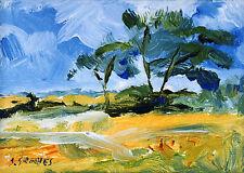 Wentworth Cornfield POSTCARD Steve Greaves Acrylic Art Summer Scene Card Trees