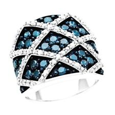 BLUE AND WHITE DIAMOND CRISS CROSS STERLING SILVER RING SIZE 8