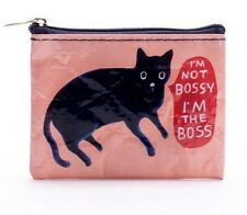 "Blue Q ""I'm Not Bossy, I'm the Boss"" black cat novelty coin purse recycled NEW"