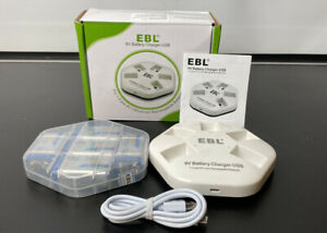 EBL 9V Batteries 5 Counts 600mAh 9V Li-ion Rechargeable Battery with 5-Slot