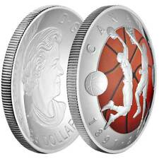 2016 Canada $25 1 oz Colorized Proof Silver Domed 125th Basketball