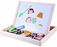 Kids Children Magnetic Learning Puzzle Double Faced Writing Wooden Board Easel
