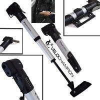 VeloChampion Double Shot Airblast Road Mountain Bike Alloy Mini Pump + Bracket