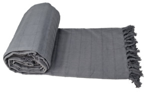 Luxurious Batten Grey 100% Cotton Sofa Bed Throw over Heavy Quality
