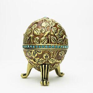 Brown Faberge Egg Trinket Box  Handmade by Keren Kopal Austrian  Crystals