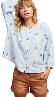 Anthropologie Akemi Kin Adela Top Blue Striped Embroidered Button Up Medium