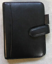 Organiser File Leather BLACK Pocket Size Wallet 15mm Diameter 6 Ring