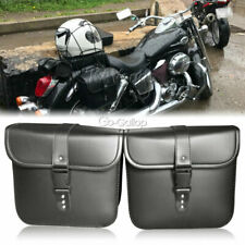 PU Leather Saddle Bag Storage Fit Honda Yamaha Harley Cafe Racer Cruiser Chopper