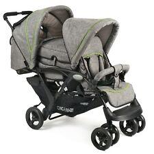 Chic 4 Baby Geschwisterwagen Duo + Tragetasche & Regenhaube Jeans grey