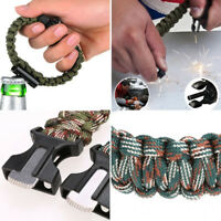 New Rope Paracord Survival Bracelet Flint Fire Starter Compass Whistle Outdoor*