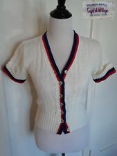 Vintage 40s 50s Style Red White Blue USA Patriotic 70s Sweater Cardigan Top S/M