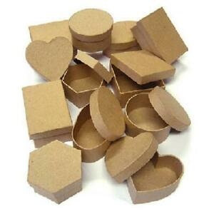 12 Paper Mache Boxes Crafts 6 Shapes Heart Square Oval Round Hexagon Rectangle