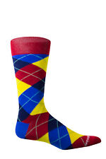 Unsimply Stitched Red and Blue Argyle Mens Socks Size 8 – 12