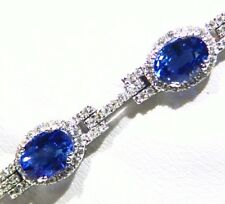 10.48CT 18K Gold Natural Sapphire White Diamond Vintage Halo Tennis Bracelet
