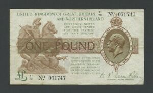 ENGLAND  KGV Fisher  £1  1927  Northern Ireland  T34  F-VF Banknotes