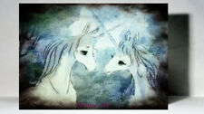 Unique Watercolour print on wood Painting The Last Unicorn Mix media by Artist