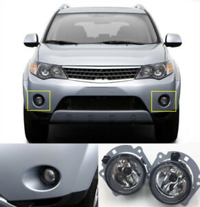 2PCS For Mitsubishi Outlander 2007-2015 Pair Left & Right Front Fog Light Lamp