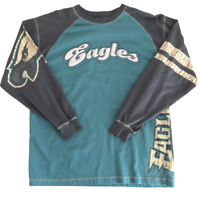 No Huddle Philadelphia Eagles Distressed Retro Long Sleeve Shirt, Size Medium