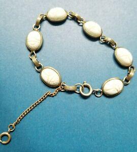 Vintage Scarab Bracelet With Saftey Chain