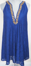 New LILLY PULITZER Royal Blue ACHELLE Mystical Knot Lace Swing Dress  XS - Gold