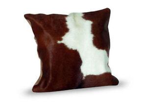 "Cowhide Pillow Cover Cushion Cow Hide Hair on cover 16"" x 16""."