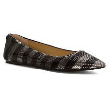 Michael Kors Arianna Black Silver Stripe Sequin Flat Women Size 5 M