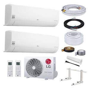 LG Multisplit Duo Klimaanlage A+++ mit WiFi 2xS09ET 2,5 kW + 7 Meter Montageset