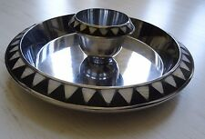 """Large Towle Silver Metal Platter Dip Tray Mother of Pearl Inlay 13"""""""