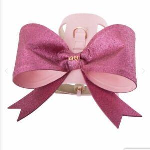 MOSHIQA Pink Glitter Dog Harness Christian Cowan Sexy Bow Designer Gold Logo