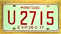 1977 MANITOBA CANADA  LICENSE PLATE  AUTO CAR VEHICLE TAG ITEM #1466