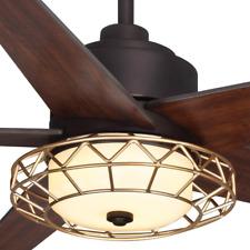 "52"" Ceiling Fan + Remote Mission Brass Cage Unique Designer Bronze Cabin Light"