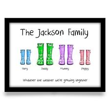 Fathers day gift for Dad Daddy Birthday Family wellies personalised A4 print