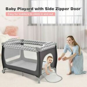 Durable 3 in 1 Portable Baby Playard with Zippered Door and Toy Bar-Gray