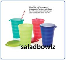 TUPPERWARE New IMPRESSIONS 16 OZ DRIPLESS TUMBLERS 4-Cup Set w/Seals New Colors!