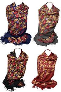 Cashmere Handmade Fully Embroidered Pashmina Style Shawl, Large Wrap Warm Scarf