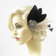 Black Cream Ivory Silver Feather Fascinator Headpiece Diamante Hair 1920s 297
