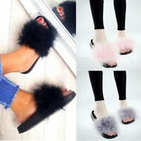 Womens Ladies Fur Fluffy Sliders Flat Comfy Slipper Summer Sandals Flip Shoes