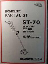 Homelite Lawn Garden 110v Electric String Trimmer St 70 Ut21524 Parts Manual