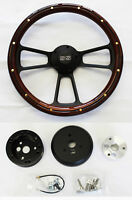 "Nova Chevelle El Camino Steering Wheel Mahogany Wood & Black Spokes 14"" SS Cap"