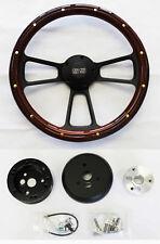 """Nova Chevelle El Camino Steering Wheel Mahogany Wood & Black Spokes 14"""" SS Cap"""