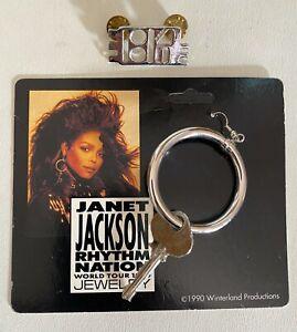 Janet Jackson Vintage 1989 Rhythm Nation RARE Key Hoop Earring + 1814 Pin