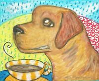 Lab Coffee Break Pop Art Print 8x10 Dog Collectible Labrador Retriever Fox Red