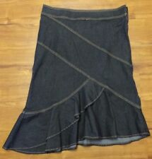 Bisou Bisou denim jean stretch skirt size 16 or 18 asymetrical ruffley hem