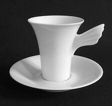 Kaffeetasse + Untertasse 2-teilig weiß Rosenthal MYTHOS Paul Wunderlich, wie neu