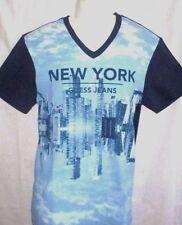 MENS GUESS NEW YORK V-NECK BLUE T-SHIRT SIZE M